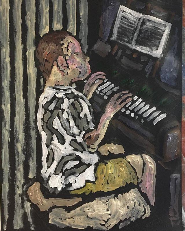 'Boy playing D-Major' Acrylic on card 59x84cm