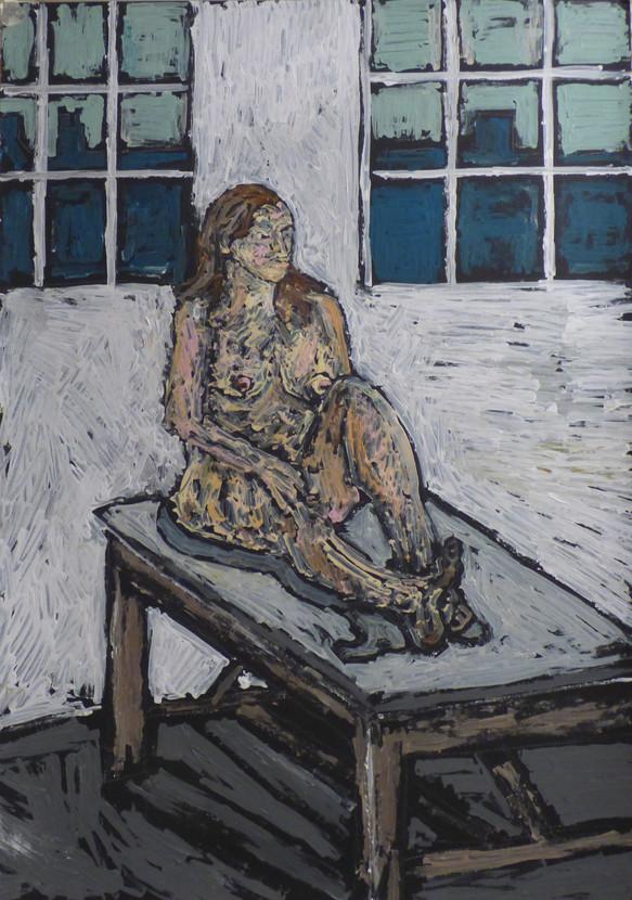 Female Nude seated forward