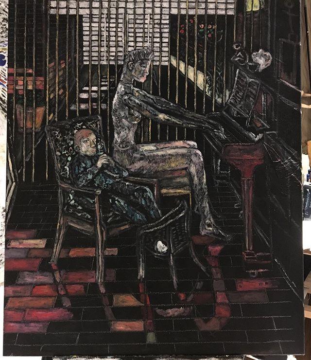 'Mandy & boy' oils on canvas 88x80cm