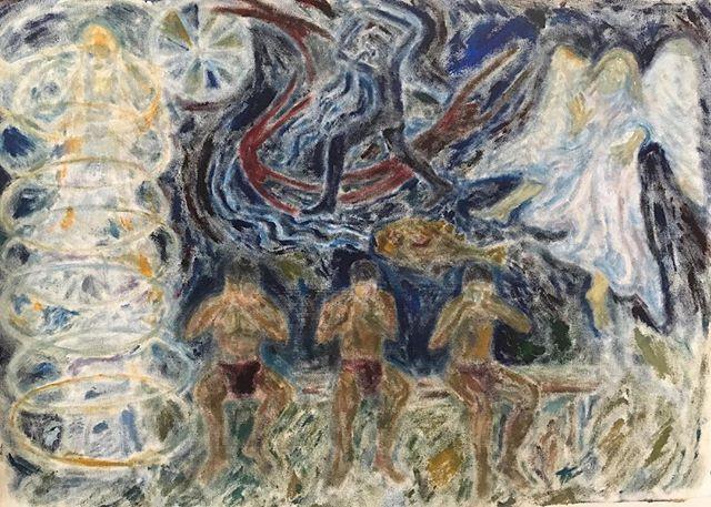 'Indigenous musicians' 40x50cm oil on ca