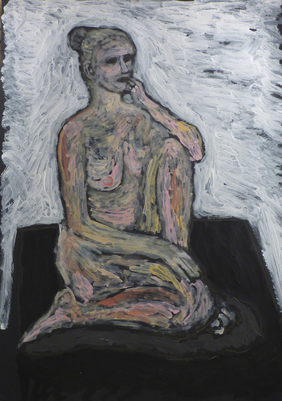 Female nude seated on table