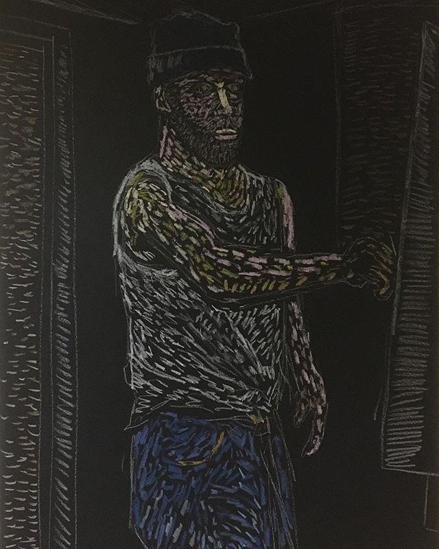 'Self portrait' oil pastels on card 84x59cm