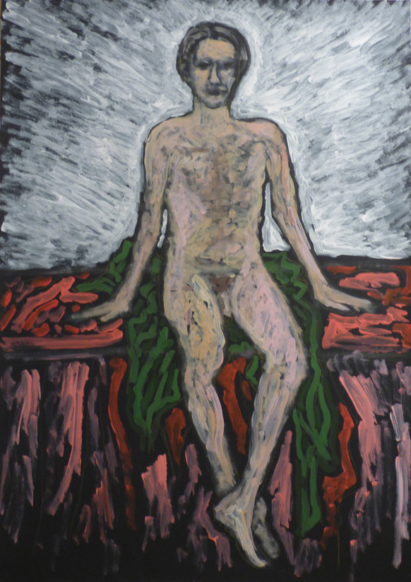 Male nude seated