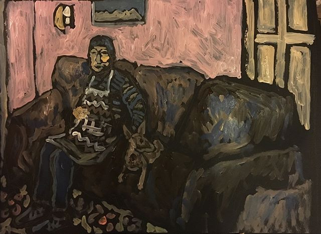 'Woman & Dog' 40x70cm