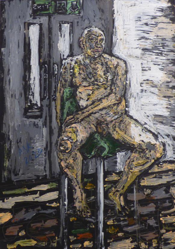 Male nude seated on stool