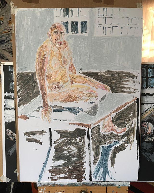 'Male nude sitting' 84x59cm _#lifedrawin