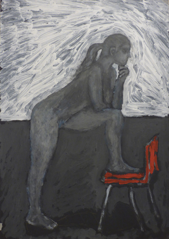 Female nude resting on red chair