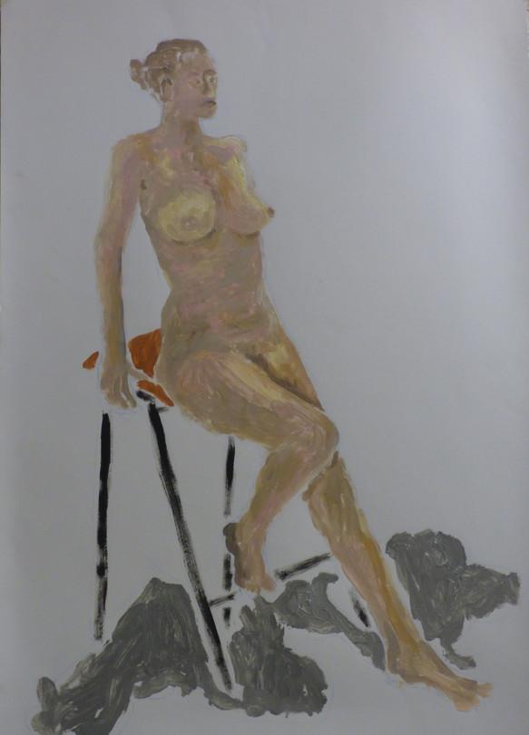 Nude seated on stool