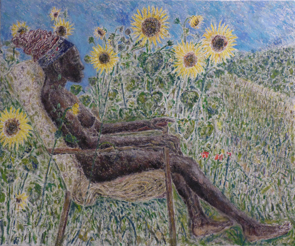Female Nude in Sunflowes
