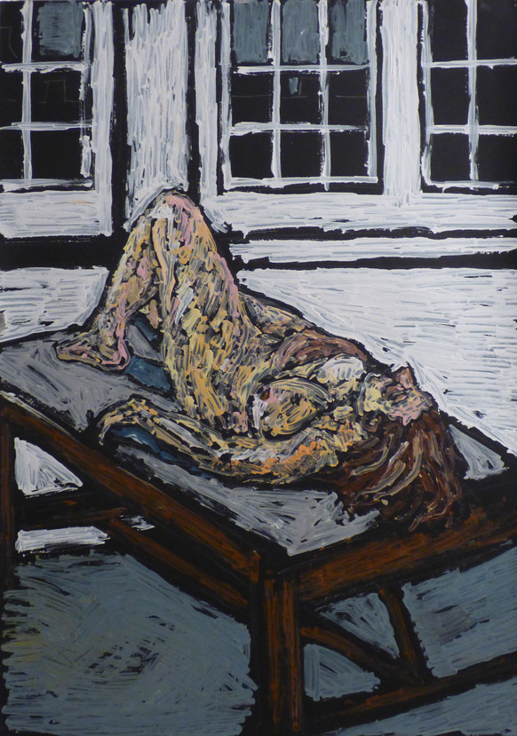 Female Nude reclining on table