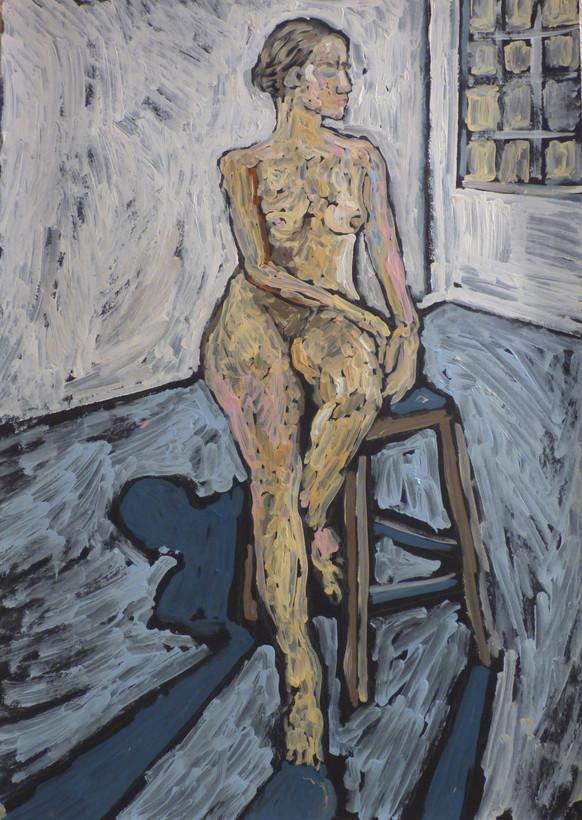 Female nude seated on stool