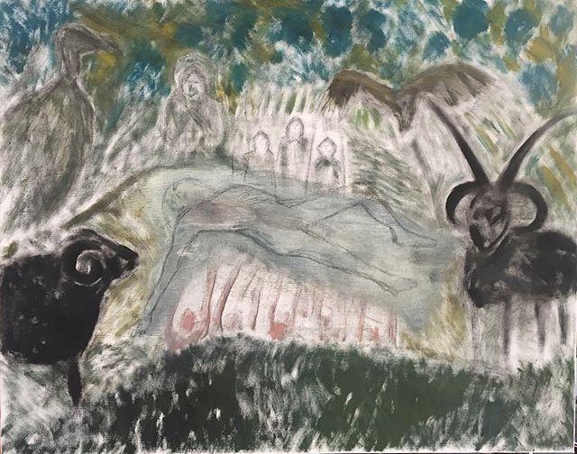 'Black sheep & Vultures' 76x60cm