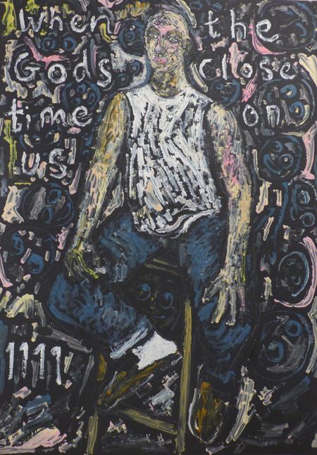 Self portrait seated on stool