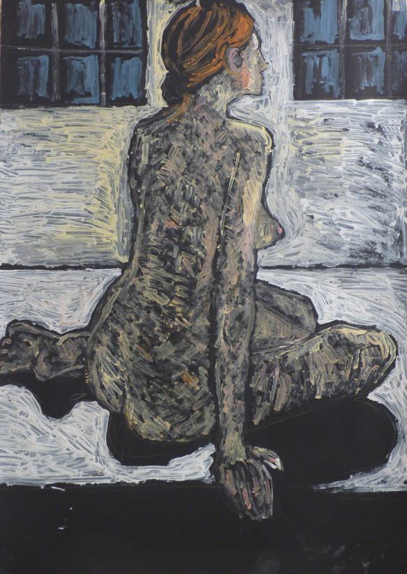 Female nude seated to left