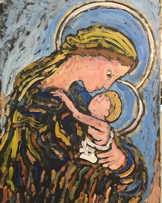 'Madonna and child' 50x40cm__#madonnaand