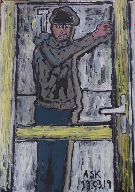 Self portrait in glass door