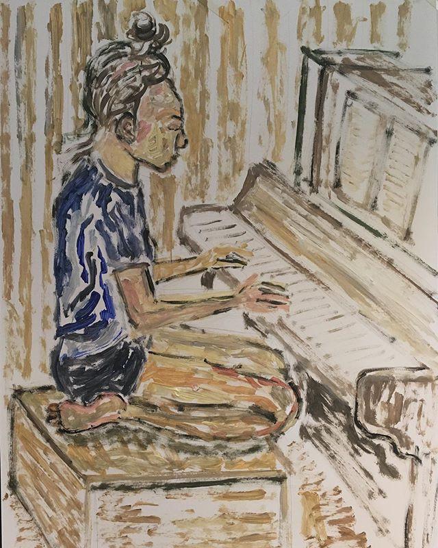 'Girl playing piano' 84x59cm__#lifedrawi