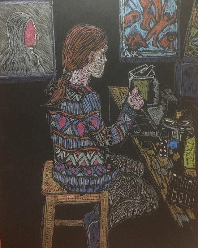 'Girl creating in studio' oil pastels