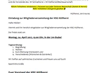 Mitgliederversammlung der HSG Hüllhorst