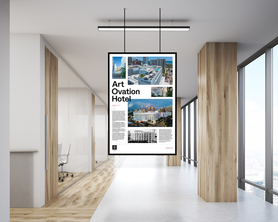 Office Indoor Hanging Poster Mockup PSD.