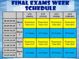 2017-2018 2nd Semester Final Exams Schedule