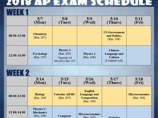 2018 AP Exam Schedule