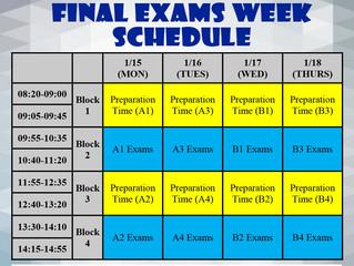 2017-2018 1st Semester Final Exams Schedule