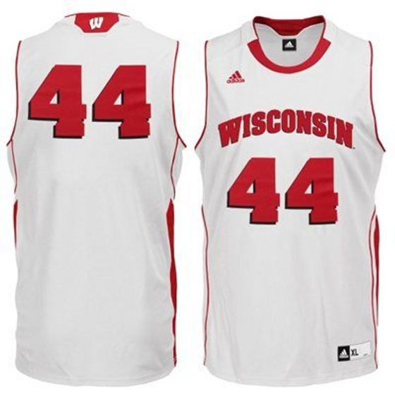 half off d7fe0 99bd9 Wisconsin Badgers Adidas Authentic Home Basketball Jersey Badger
