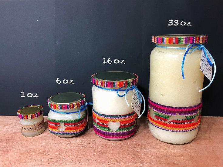 Aceite de Coco Virgen Orgánico para la Piel, Cabello y Cocina 1oz/6oz/16oz/33oz