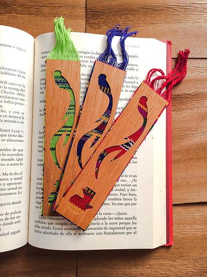 Separadores de Libros con Caoba Sostenible & Tela Típica
