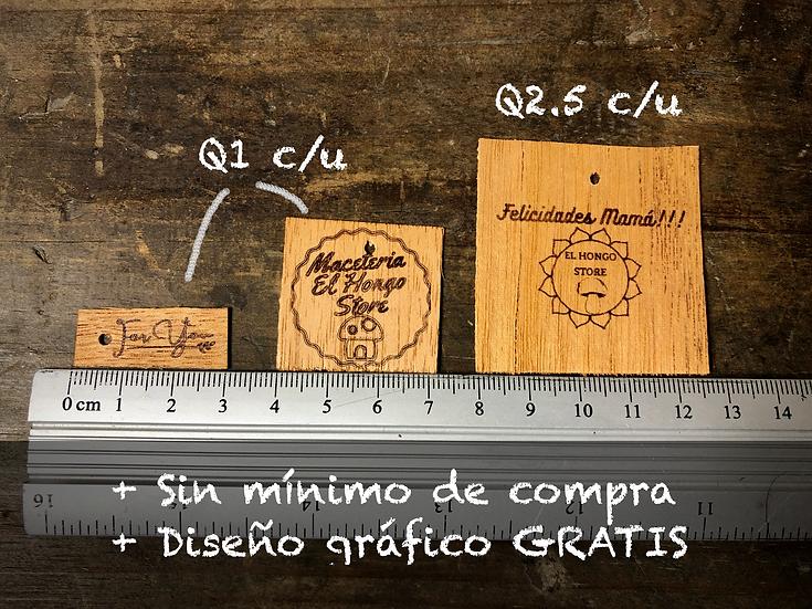 Servicio de Grabado Láser en Caoba Sostenible para Etiquetas y Tarjetas