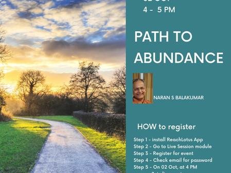 Path to Abundance - Oct 2nd, Free Live Session