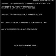 MARKEESE JONES UNIVERSITY