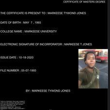 MARKEESE JONES CERTIFICATE OF MASTERS DEGREE