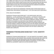 MARKEESE TYWOND JONES BORN MAY 7 1993 MY SPIRIT MAN IDENTITY IMPORTANCE LIST FOR ETERNITY FOREVER AND EXISTENCE 4 UPDATE