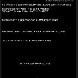 MARKEESE TYWOND JONES IP HOLDINGS INC