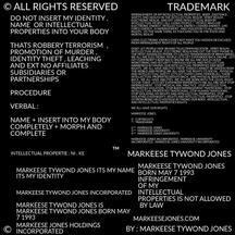 MARKEESE TYWOND JONES NO INFRINGMENT HOSTAGE INTELLECTUAL PROPERTIES