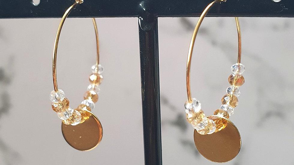Gold white bedeltje munt oorbellen