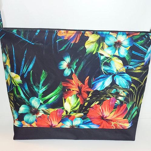 Black Tropical Flower Everyday Bag