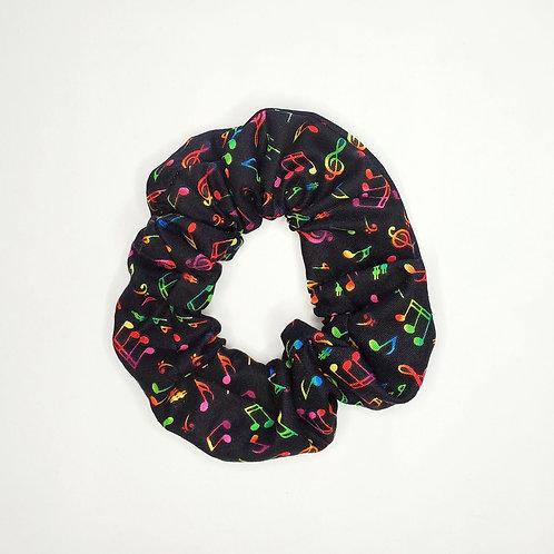 Rainbow Music Notes Hair Scrunchie