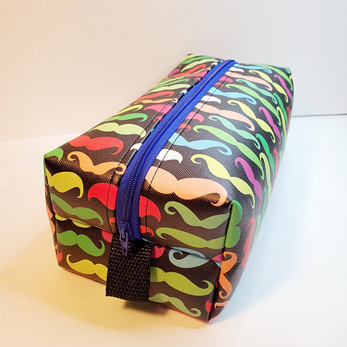 Large Synthetic Leather Boxed Bag Moustaches