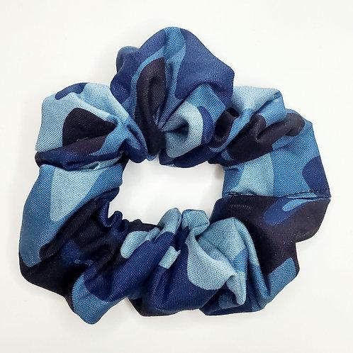 Blue Camo Scrunchie