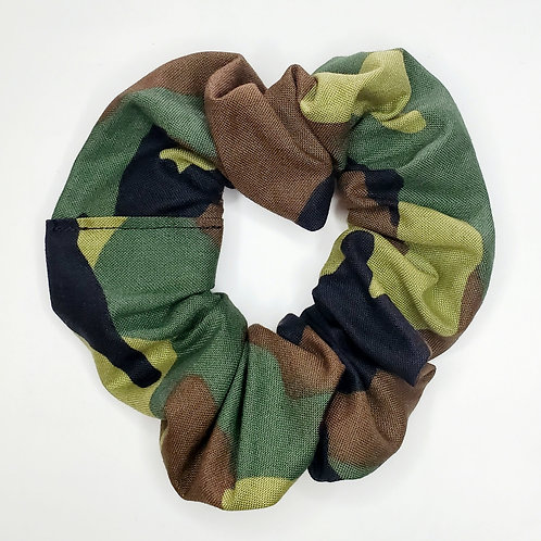 Green And Brown Camo Scrunchie