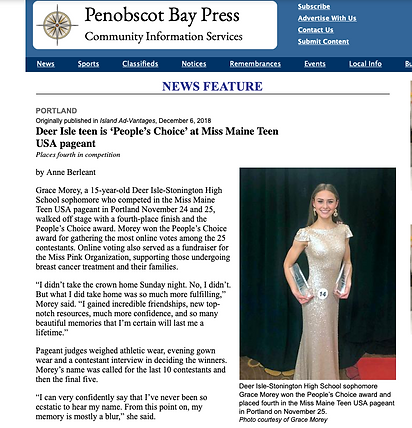 Deer Isle Miss ME Teen USA Contestant