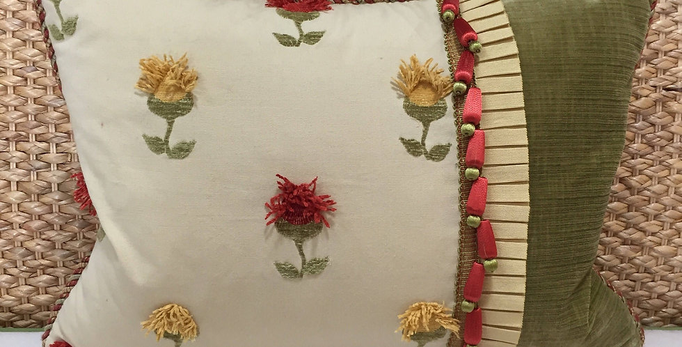 Red - Yellow - Floral Pillow - Triple Trimmed
