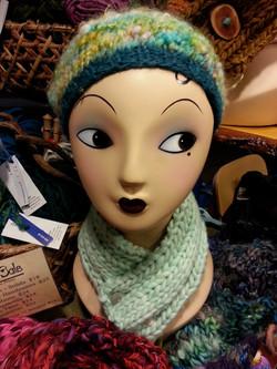 Sky Blue Scarflette and Handspun Hat