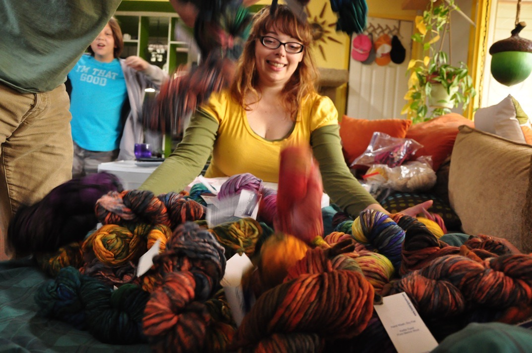 "Cora's ""Yarn Grab"" Excitement"
