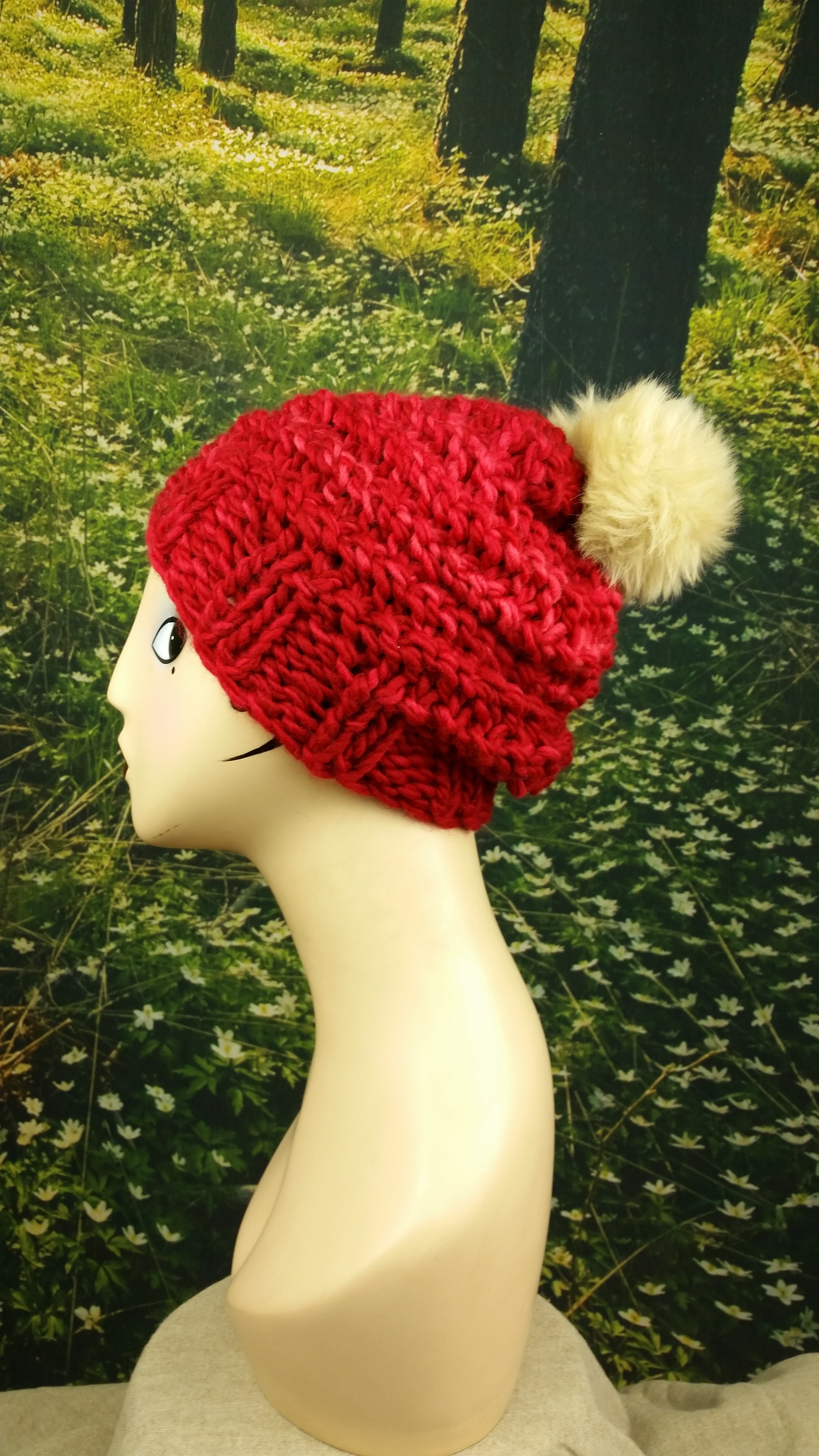 Cranberry Puff Hat