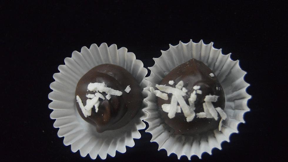 Creamy Kahlua Truffles with Toasted Coconut