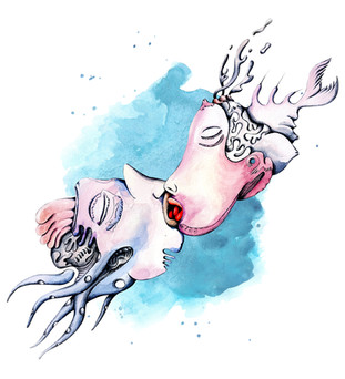 KISSING LOVERS FROM TWO DIFFERENT WORLDS  Pen and Watercolor Painting on Paper